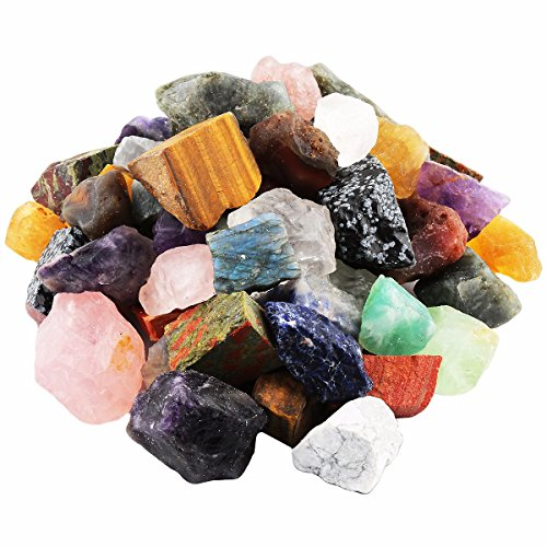 rockcloud 1 lb Natural Crystals Raw Rough Stones for Cabbing,Tumbling,Cutting,Lapidary,Polishing,Reiki Crytsal Healing,Colorful Mixed Stones