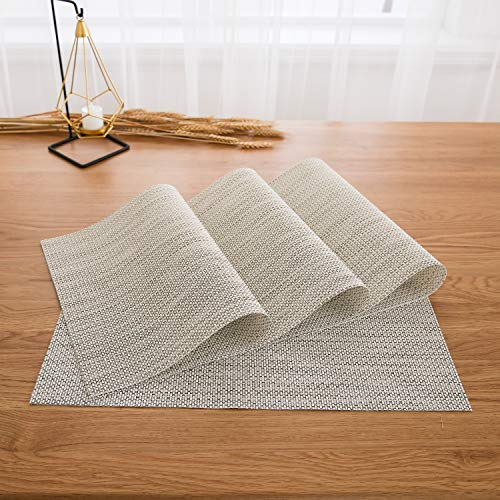 Deconovo Place Mats Placemats Washable Dinner Table Mats for Kitchen Table Shining Gold and White Set of 4 -
