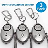 Siren Song Personal Alarm Keychain for Self Defense [3 Pack] - Designed for Women's, Children's Safety, Safe Sound Alarm 140dB with Flashlight for Night Emergency Situation, Carabiners Offered !