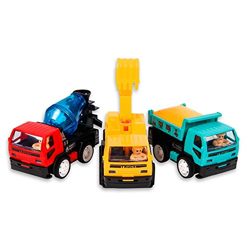 KIDAMI Friction Powered Toy Cars Trucks for Boys Age 2/3/4, Pull Back Cars 3 Toy Trucks Includes Dump Truck Toy, Cement Mixer Truck, Excavator
