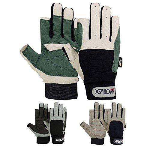 MRX BOXING & FITNESS Mens Sailing Gloves Deckhand Gripy Glove Cut Finger Multi Colors (White/Blue, Medium)