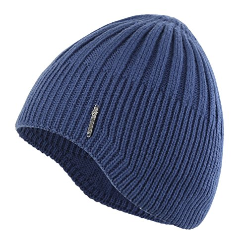 Home Prefer Boys Toddler Knit Beanie Winter Warm Skull Hat Ears Covers Blue - Stretch Winter Cap