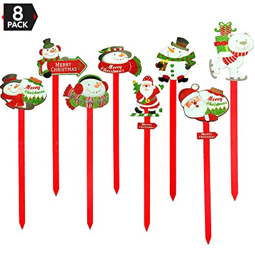 Big Mo's Toys Yard Stakes - Holiday Outdoor Snowman Decorations Lawn Signs for Christmas - 8 Pieces ()