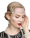 Art Deco 1920s Flapper Great Gatsby Leaf Wedding Bridal Tiara Pearl Headpiece Headband(gold)
