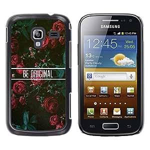 TopCaseStore / la caja del caucho duro de la cubierta de protección de la piel - Roses Floral Motivational - Samsung Galaxy Ace 2 I8160 Ace II X S7560M