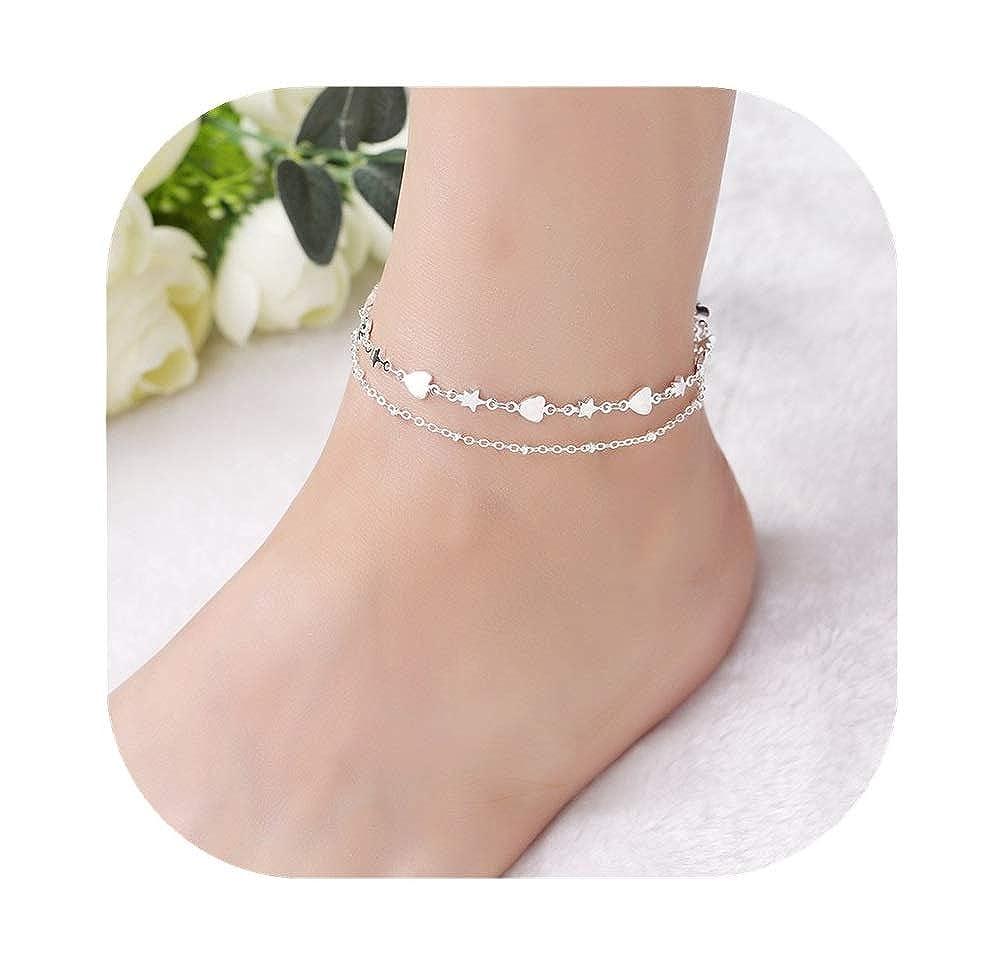 JOYID Multi Layer Anklet Retro Double Love Heart Star Charm Anklet Bracelet Beach Foot Chain Jewelry for Women Girls