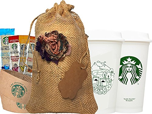 Starbucks Tour Coffee Reusable Recyclable Cups With Lids, Sleeves, Via Instant Coffee Sampler Gift Set Bundle With Burlap Bag, Rustic Gifts For Mom, Coffee Lovers, Birthdays, Anniversaries.