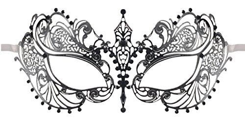Luxury Mask Women's Laser Cut Metal Venetian Pretty Masquerade Mask, Silver/Black Stones, One Size