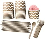 Paper Dessert Ice Cream Cups - Kraft Brown and White Chevron - Wood Spoons - Paper Straws - 18 Each