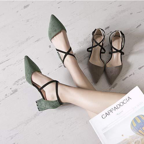 HRCxue Pumps Schuhe Damenmode wies High Heels Damenwort Schnalle mit mit mit dicken Einzelschuhen Baotou Damenschuhe, 39, schwarz e693fe