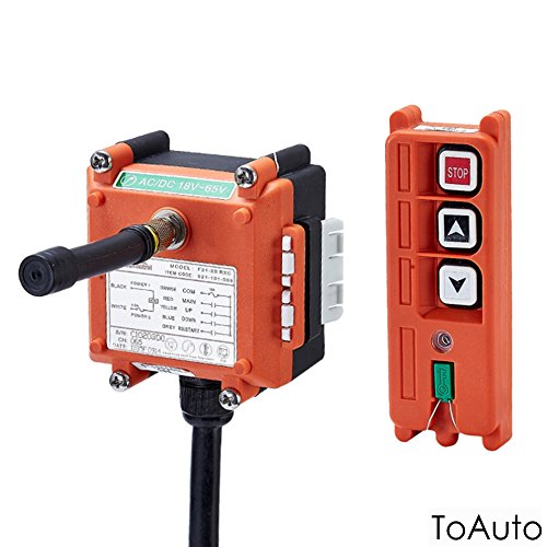 Industrial Crane Wireless Remote Control F21-2S AC/DC18V-65V (1 Transmitter + 1 Receiver) Hoist with Single Speed Button