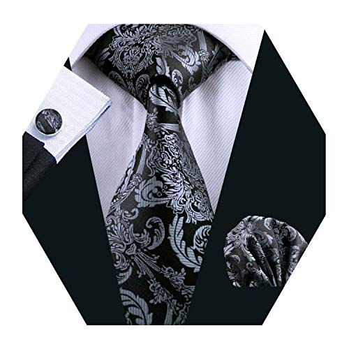 - YOHOWA Black Silver Paisley Tie Set for Men Necktie Pocket Square Cufflinks Set