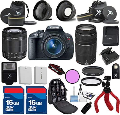 Canon Rebel T5i Camera Body with Canon 18-55mm IS STM Lens Al's Variety Premium Bundle with Canon 75-300mm III Zoom + Deluxe Backpack + XIT 3Pc Filter Kit + XIT Wide Angle Lens + XIT Telephoto Lens + Spider Flexible Tripod + Extra High Capacity Battery + Extra AC/DC Rapid Charger + 2pcs 16GB Bandwidth Memory Cards + 24pc Accessory Bundle Kit