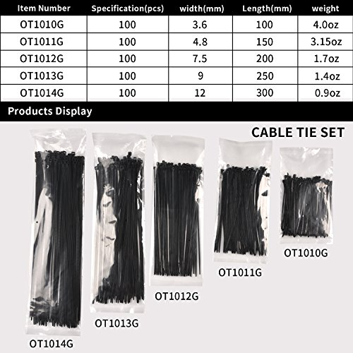 Cable Ties, HKbest Zip Ties, 500 Pcs Adjustable Durable Self locking Black Nylon Zip Cable Ties for Home Office Garage Workshop UV Resistant Heavy Duty by HKbest (Image #1)