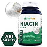 Best Niacin 500mg 200caps (Non-GMO & Gluten Free) Supports Nervous System and Energy Production *Be AwareNiacin May Cause''Flush''* - Made in USA - 100% Money Back Guarantee!