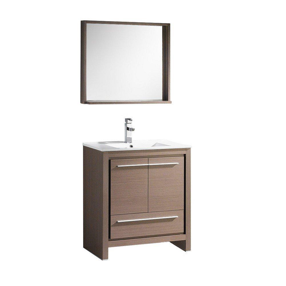 mirror size for 30 inch vanity. Fresca Bath FVN8130GO Allier 30  Vanity with Mirror Gray Oak Amazon com
