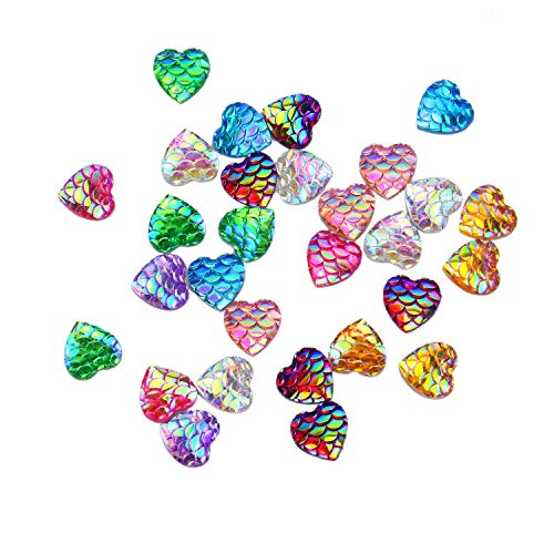 Monrocco 100pcs 10mm Mermaid Scale Cabochons Mixed Color Mermaid Style Fish Scale Cabochons Heart Flat Back Cabochons