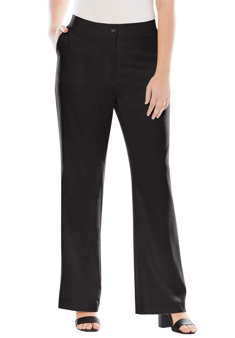 Jessica London Women's Plus Size Boot Cut Bi-Stretch Pants Black,18 W