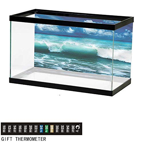 - Suchashome Fish Tank Backdrop Ocean,Caribbean Seascape Waves,Aquarium Background,36