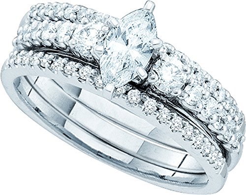 14kt White Gold Womens Marquise Diamond 3-Piece Bridal Wedding Engagement Ring Band Set 1.00 Cttw by JawaFashion