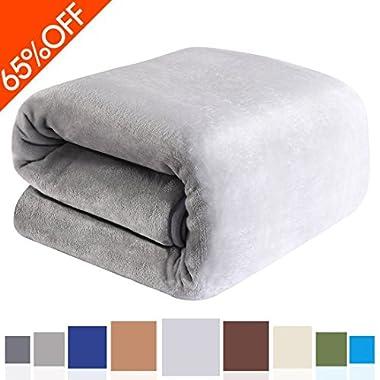 Balichun Luxury Polar Fleece Blanket Super Soft Warm Fuzzy Lightweight Bed Blankets Couch Blanket Twin/Queen/King Size(King,Linen)