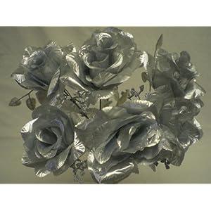 "4 Bushes SILVER Open Rose 7 Artificial Silk Flowers 15"" Bouquet 039SL 2"