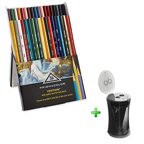 Sharpeners Prismacolor with Premier Verithin Colored Pencils 36 Pack, School Educational Supplies - 31 Black Brick Light