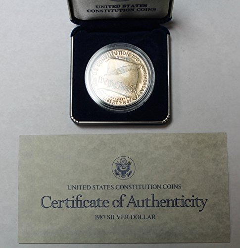- 1987 Proof United States Constitution Silver Dollar Coin $1 in Government Packaging