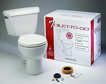 Crane Plumbing 3923 Toilet To Go Vitreous China Sure Flush Toilet One Piece Toilets Amazon Com