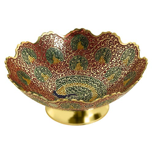 - Zap Impex Golden Plated Brass Decorative Dry Fruit Bowl carving Work - Size- 5