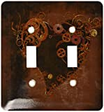 3dRose lsp_172232_2 Decorated Brown Steam Punk Heart Light Switch Cover