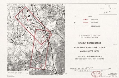 1981 Map Lincoln Downs Brook, floodplain management study, mosaic sheet index, Lincoln, North - Store Locator Style Country