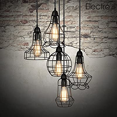 Electro_bp;rustic Barn Metal Chandelier Max 200w with 5 Light Black Finish Bulb Included