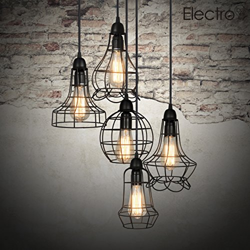 Electrobprustic-Barn-Metal-Chandelier-Max-200w-with-5-Light-Black-Finish-Bulb-Included