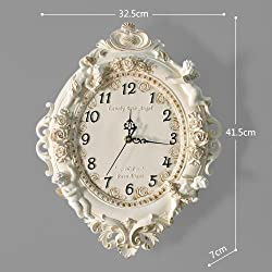 Y-Hui Antique Wall Clock Living Room Silent Clock Bedroom Angel Wall Clock Mute Decorative Quartz Watches, 16 Inch, M Uncluttered Gold