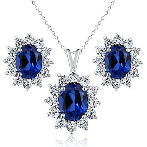 5.24 Ct Oval Blue Simulated Sapphire 925 Sterling Silver Pendant and Earrings (Oval Sapphire Pendant Set)