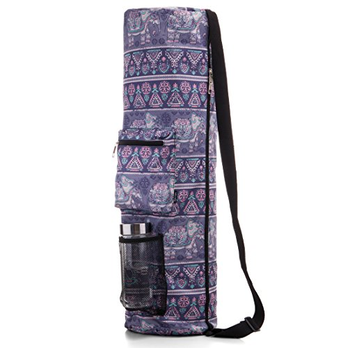 RoryTory Yoga Mat Bag w/Adjustable Strap, Water Bottle Carrier, Inner & Outer Pockets, Heavy Duty & Machine Washable - Fits Most Yoga Mat Sizes (Purple Elephants)