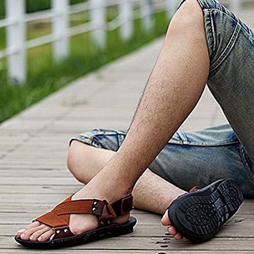 Antideslizante Hombres Suela Genuino Respirables Playa Masculinas Los Cuero Moda Vaca Ocio Verano De Sandalias Zapatos 0nr50HqU