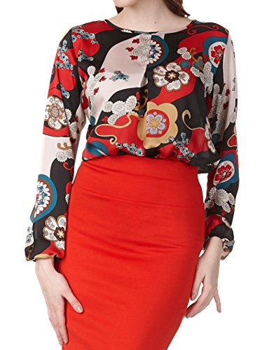 REGNA X women maternity plus size relaxed fit blouse top multicolor print - Check Print Blouse