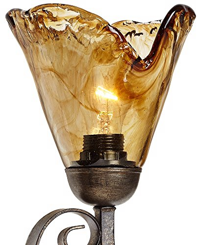 Amber Scroll 29 1/2'' Wide Art Glass and Bronze Bath Light by Franklin Iron Works (Image #7)