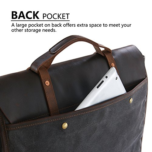 1a7b06368da0 Lifewit Men s Messenger Bag Leather Waterproof Waxed Canvas Laptop Satchel  Shoulder Briefcase