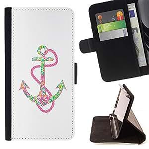 Ancla rosada Chain colorido Arte Positivo- Modelo colorido cuero de la carpeta del tirón del caso cubierta piel Holster Funda protecció Para Apple (5.5 inches!!!) iPhone 6+ Plus / 6S+ Plus