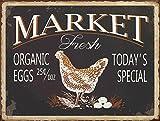 Barnyard Designs Market Fresh Eggs Retro Vintage Tin Bar Sign Country Home Decor 10'' x 13''