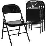 Black Metal Folding Chairs Flash Furniture 4 Pk. HERCULES Series Triple Braced & Double Hinged Black Metal Folding Chair