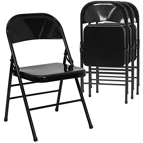 Flash Furniture 4 Pk. HERCULES Series Triple Braced & Double Hinged Black Metal Folding - Chair Steel Outdoor Folding
