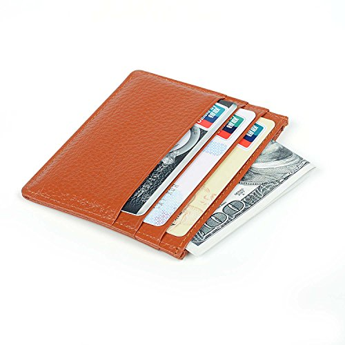 RFID Blocking Genuine Leather Slim Wallet, Men's Leather RFID Blocking Minimalist Money Clip Front Pocket Wallet Credit Card Holder with ID Window