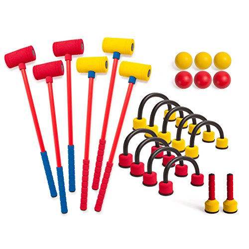 Champion Sports Foam Croquet Set: Classic Outdoor Lawn and Party Game For Kids - 6 Player Sets with Soft Wickets Stakes & Mallets