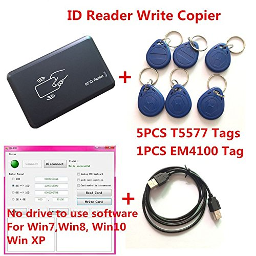 AHongem 125KHZ RFID ID Card Reader Writer Copier Duplicater For Access Control w/5PCS EM4305/T5557 Tags + DEMO Nodriver (Demo Keypad)