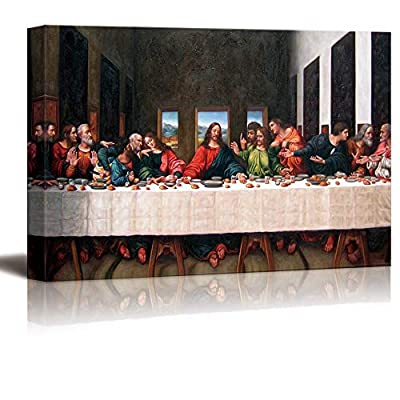 Canvas Wall Art - Last Supper by Andrea Solari - Modern Home Art Stretched and Framed Ready to Hang - 24x36 inches