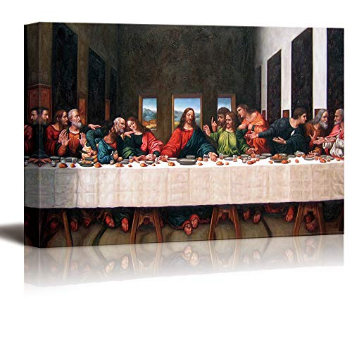 The Last Supper Halloween (wall26 - Canvas Wall Art - Last Supper by Andrea Solari - Modern Home Decor Stretched and Framed Ready to Hang - 24x48)